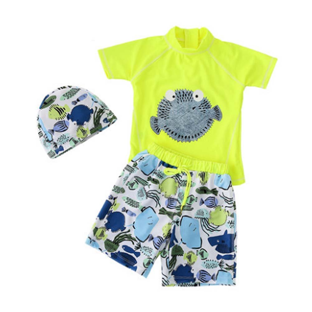 Boys Swimsuit Lovely Two Pieces Bathing Suit with Swimming Cap Fluorescent Green PANDA SUPERSTORE PS-SPO2420245011-EMILY00880
