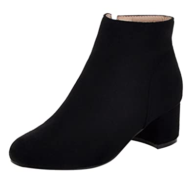 Womens Suede Round Toe Chunky Heeled Zipper Ankle Boots
