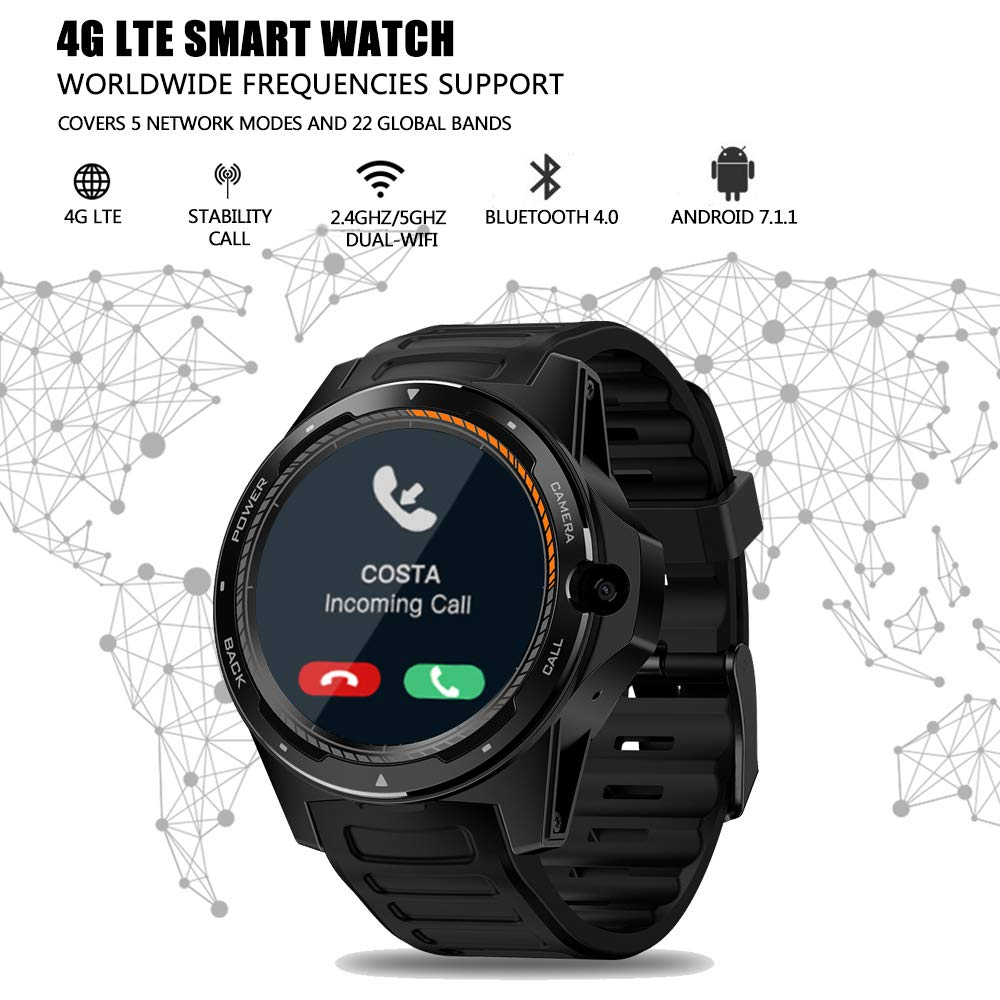 Nuevo Zeblaze SmartWatch 4G LTE Smart Watch Cámara Frontal de 8.0MP 2GB +16 GB Sistema Dual híbrido GPS/GLONASS/Beidou Sports Watch Compatible con ...