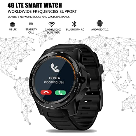 Nuevo Zeblaze SmartWatch 4G LTE Smart Watch Cámara Frontal de 8.0MP 2GB +16 GB Sistema Dual híbrido GPS/GLONASS/Beidou Sports Watch Compatible con ...