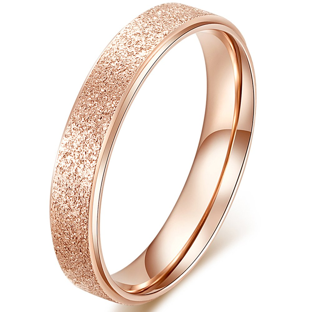 Womens 4mm Stainless Steel Sand Blast Finish Rose Gold Wedding Band Engagement Lady Vintage Ring Size 9