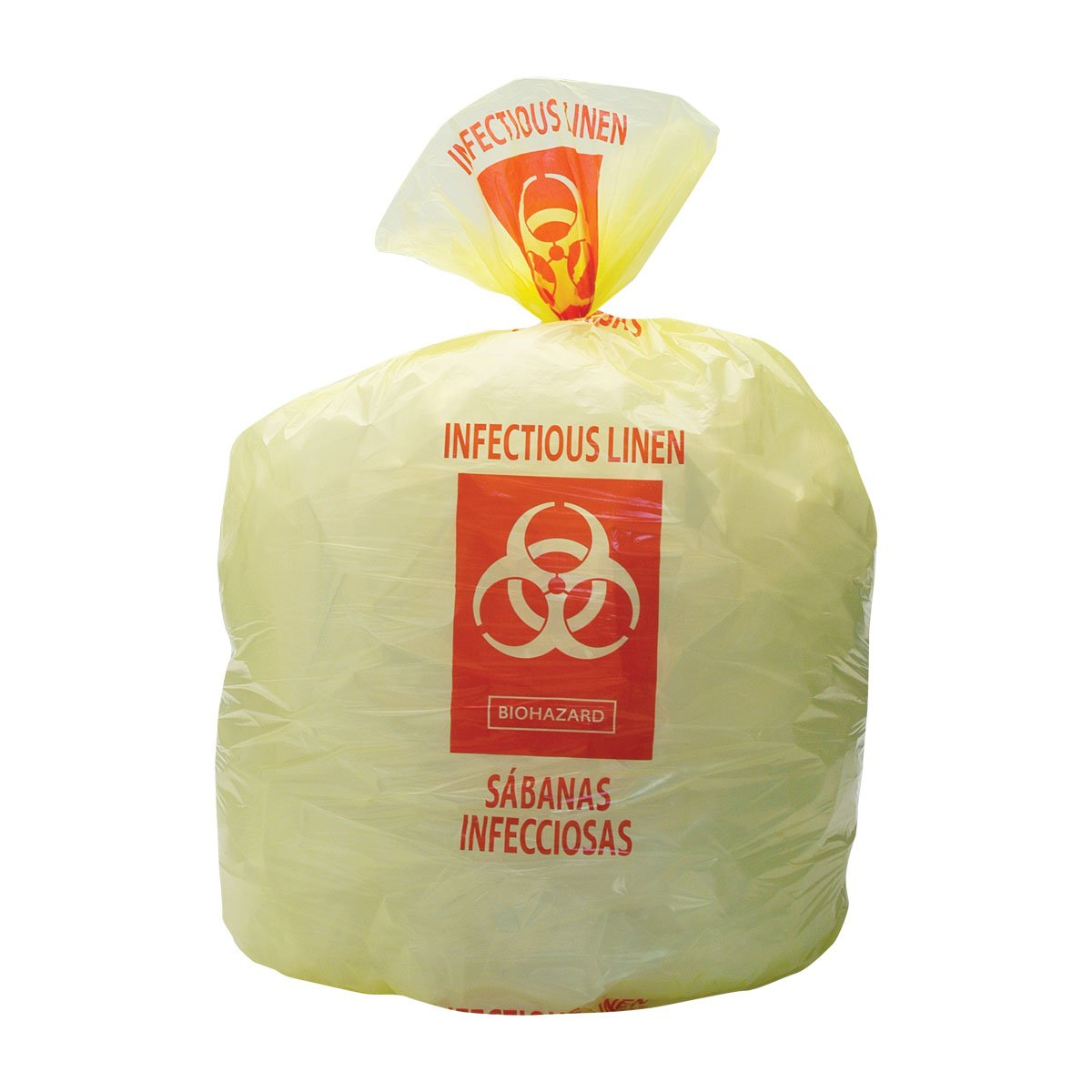 PDC Healthcare INFBG3 Yellow Plastic Hospital Bag,''Infectious Linen'', Waste Liner, Printed in English and Spanish, 33 gal (Pack of 250)