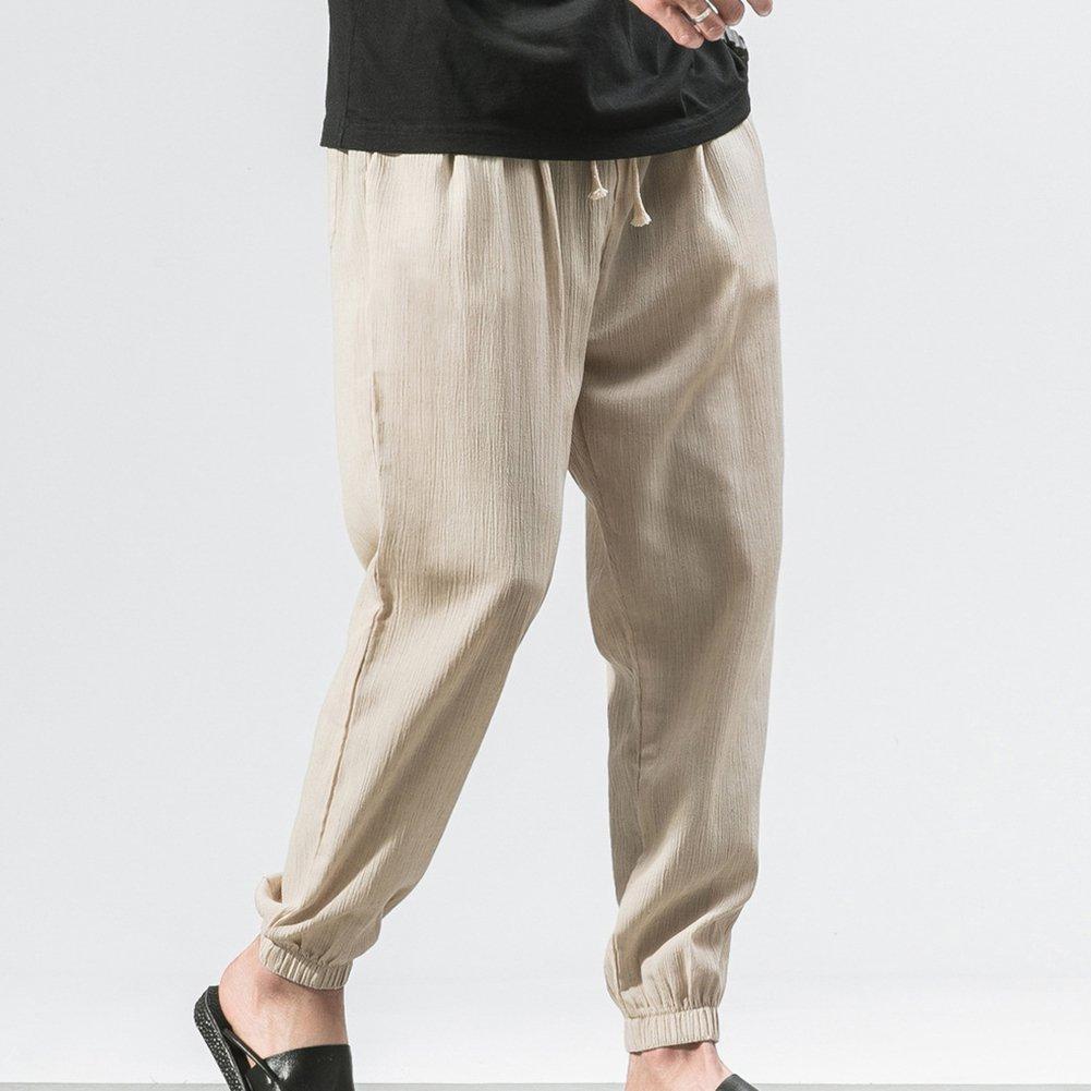 Elastische Taille L/änge Hosen f/ür Herren Haremhose Einfarbig L/ässige Freizeithose mit Taschen(4 Farben M-5XL) Herren Schlabberhose Strandhosen Loose Leinenhosen