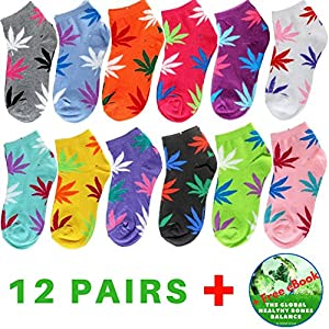 Womens Marijuana Ankle Socks 12 Pack Size 9-11 - Weed Leaf Design Low Cut Colorful Cotton Sox Set 12 Pairs