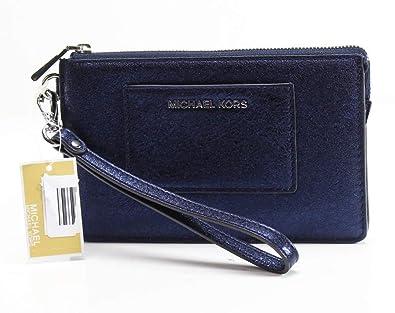 9c96981f8e75 Michael Kors Womens Textured Leather Wristlet Wallet Navy O S  Handbags   Amazon.com