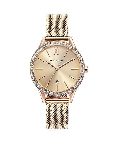 Viceroy 471098-99 Reloj de Mujer Cuarzo Acero IP rosé Malla Circonitas Tamaño 32 mm