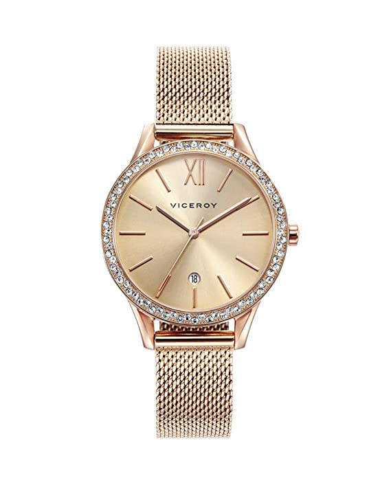 Viceroy 471098-99 Reloj de Mujer Cuarzo Acero IP rosé Malla Circonitas Tamaño 32 mm: Amazon.es: Relojes