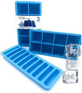 Kitch America | 8 Cavity Silicone Ice Cube Dessert Tray, with Bonus Sports Bottle Stick Ice Maker Mold, For Whiskey, Cocktail, Sodas, Drinks, Frozen Soups, Cakes, Brownies, (BONUS SPORTS TRAY)