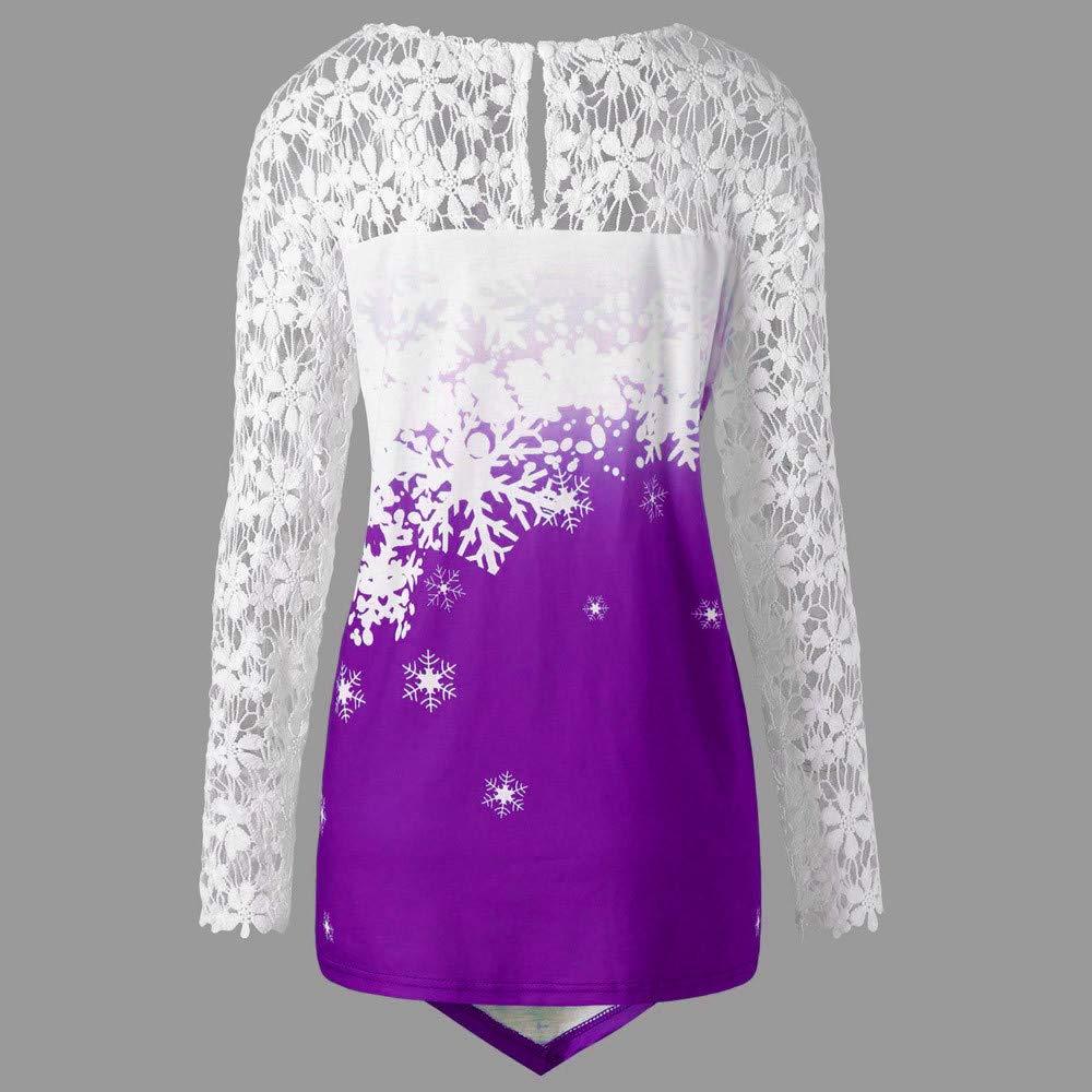 Yiqianzhaobiao/_shirt Christmas Lace Top Fashion Women Merry Christmas Panel Santa Claus Print T-Shirt Tops Blouse