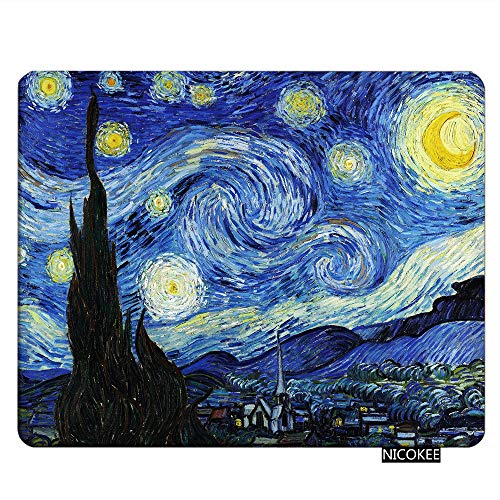 (NICOKEE Rectangle Gaming Mousepad Starry Night by Vincent Van Gogh Mouse Pad Mouse Mat for Computer Desk Laptop Office 9.5 X 7.9 Inch Non-Slip Rubber)