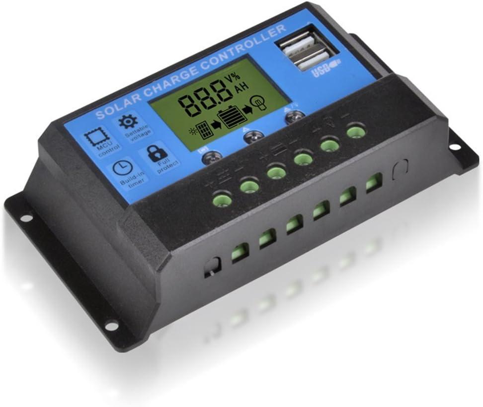GFCGFGDRG LCD 12 / 24V 20/10 / 30A de Carga Solar del regulador del regulador PWM Inteligente Timer USB