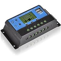 Demino LCD 12 / 24V 30A de Carga Solar del regulador del regulador, el regulador Solar del regulador del regulador PWM Inteligente Timer USB