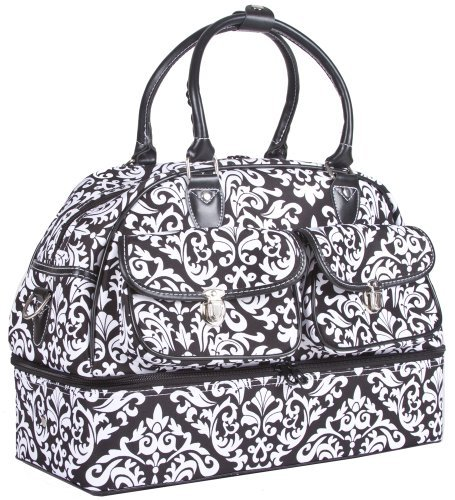 Ever Moda Damask Women's Drop Bottom Duffel Bag (Black)