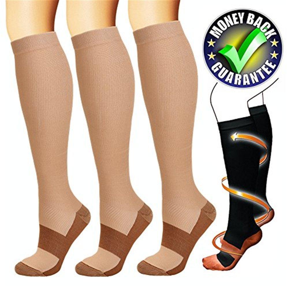 3SOCKS Compression Socks Compression Running Socks Socks for Men and Women, Travel, Flight, Working, Nurse, Gym, Blood Circulation, Regeneration, Swan Gerscha feifanshop