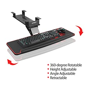 Eureka Ergonomic Keyboard Tray, Adjustable Height & Angel Computer Keyboard Drawer Platform Retractable Desk Mount Drawers Under Desk Rotatable Shelf Ergonomic Design - Black