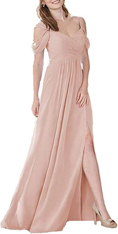 EUMI Chiffon Bridesmaid Dresses Long Off Shoulder Ruffles Wedding Party Gowns
