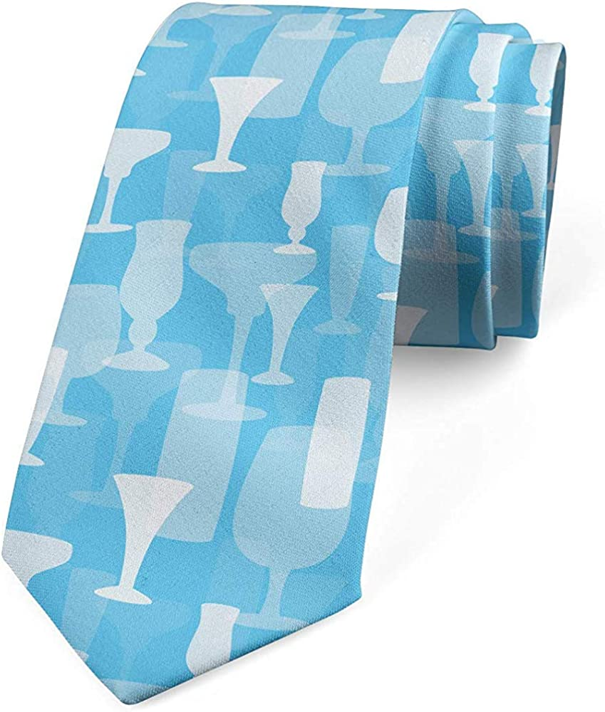 Corbata para hombre, patrón de copas de varios vasos, azul cielo ...