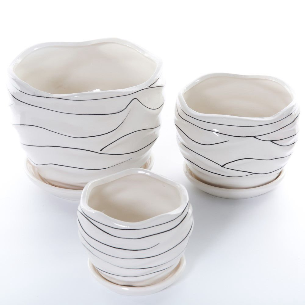 3 Pack Ceramic Flower Plant Pot with Saucers, Size 4'' 5'' and 6'' (Modern) by Helen House
