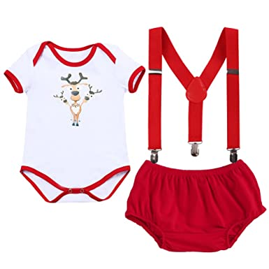 18ca64d0a8f1 Baby Boys Girls My 1st Christmas Outfits Rompers Suits Bloomers ...