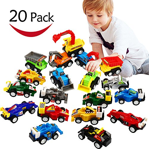 (Pull Back Car, 20 Pcs Assorted Mini Truck Toy and Race Car Toy Kit Set, Funcorn Toys Play Construction Vehicle Playset Educational Preschool for Kids Children Party Favors Birthday Game Supplies)