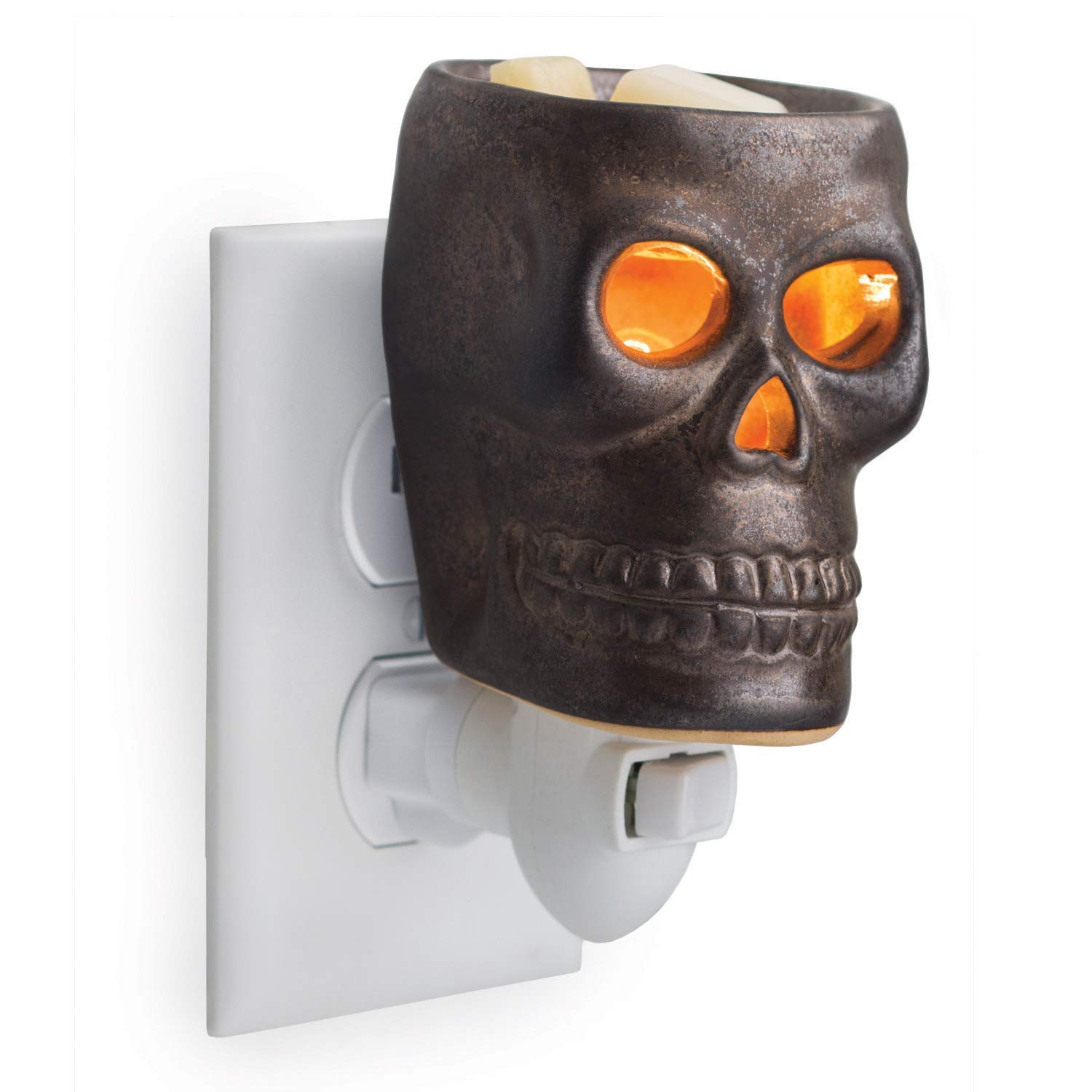 CANDLE WARMERS ETC Pluggable Fragrance Warmer- Decorative Plug-in for Warming Scented Candle Wax Melts and Tarts or Essential Oils, Skull