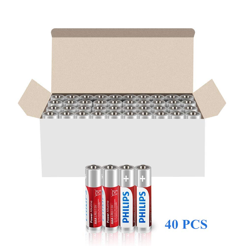 Philips AAA Batteries, 1.5V AAA Alkaline Battery 1100mAh, High Performance, Non-Rechargeable, 40-Pack