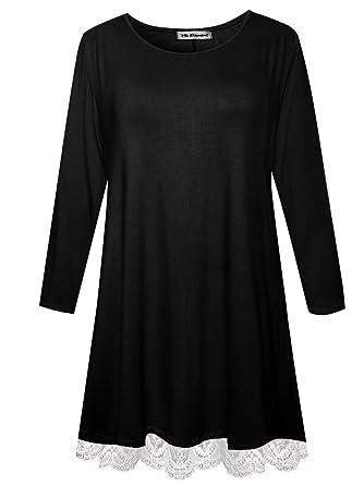 54cf5055f5 Womens Plus Size Long Sleeve Shirts Swing Tunic Tops Knit Lace T-Shirt  (Black