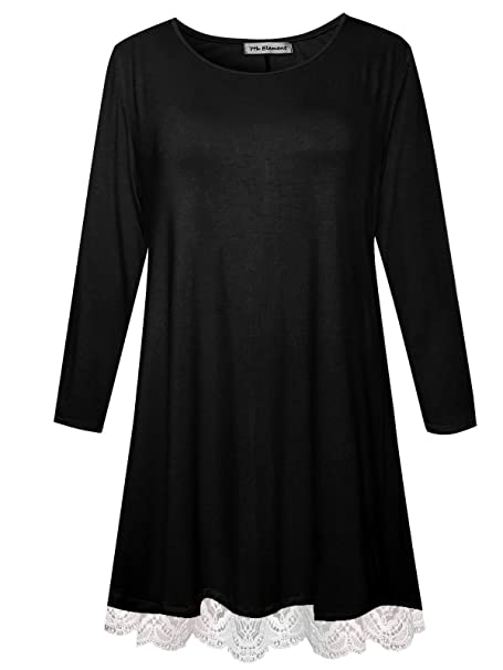 9b8375627c2 Womens Plus Size Long Sleeve Shirts Swing Tunic Tops Knit Lace T-Shirt  (Black