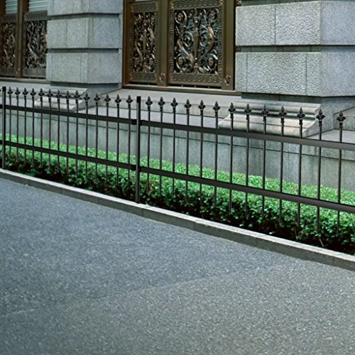 Tidyard Ornamental Security Palisade Fence Steel Black Pointed Outdoor Top Patio Fences Flower Bed Barrier 2' 7
