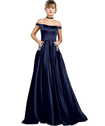 0e0d61d0016 Yilis Women s Off The Shoulder A-line Beaded Satin Evening Prom Dress Long  Formal Party