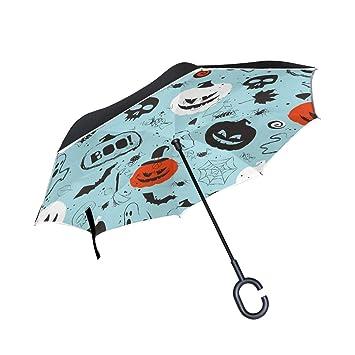 ALINLO - Paraguas invertido de Calabaza de Halloween, Doble Capa, Impermeable, para Lluvia