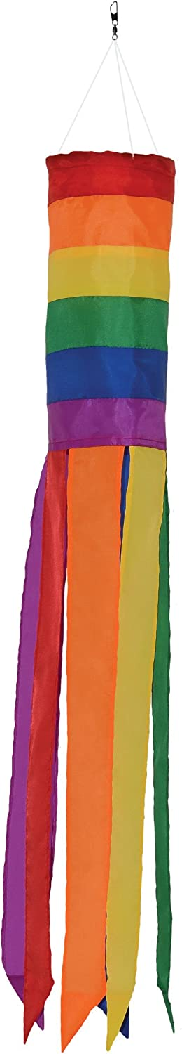 In the Breeze Rainbow Column - 33 Inch Windsock - Colorful Hanging Decoration - Red, Orange, Yellow, Green, Blue, Purple