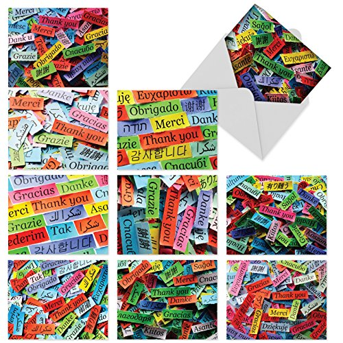 """10 'A World of Thanks' Thank You Note Cards (4"""" x 5 ¼"""") with Envelopes, Featuring Colorful Thankful Messages in Various Languages, Stationery Set for All Occasions #M6064"""