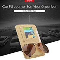 Car CD DVD Holder Disc PU Leather Storage Case Sunglasses Organizer Sun Visor Sunshade Sleeve Wallet Clips