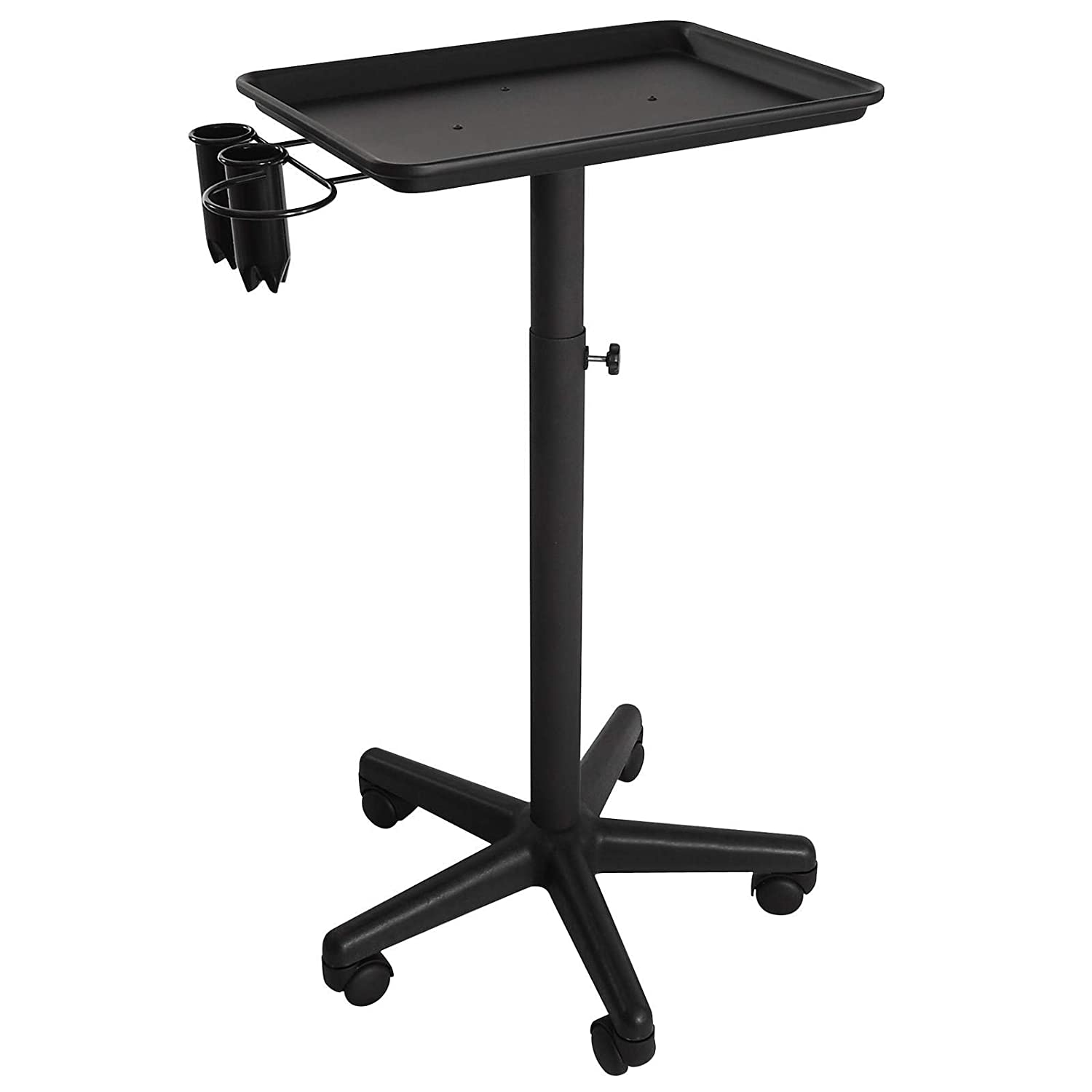 Saloniture Premium Aluminum Instrument Tray with Accessory Caddy - Black