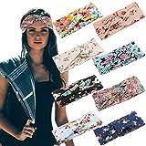 #7: LOLIAS 8 Pack Headbands for Women Elastic Boho Flower Yoga Head Wrap Hair Band Soft