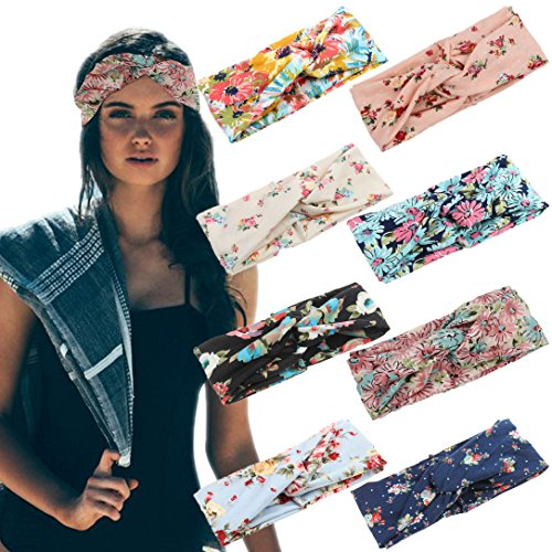 LOLIAS 8 Pack Headbands for Women Elastic Boho Flower Yoga Head Wrap Hair Band Soft by LOLIAS