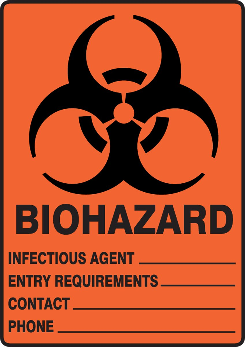 Black on Orange-Red Accuform MBHZ500VP Plastic Safety Sign 10 Length x 7 Width x 0.055 Thickness LegendBIOHAZARD INFECTIOUS AGENT/_ ENTRY REQUIREMENTS/_ CONTACT/_ PHONE/_ with Graphic