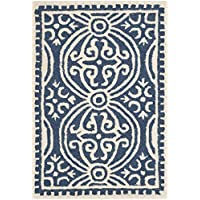 Safavieh Cambridge Collection CAM123G Handcrafted Moroccan Geometric Navy Blue and Ivory Premium Wool Area Rug (2 x 3)