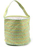 Easter Egg Hunt Basket Bag - childs reusable bucket baskets - kids party gift bags - baby shower & book storage - grocery shopping and more - by Jolly Jon (Lime Green with Bunnies)