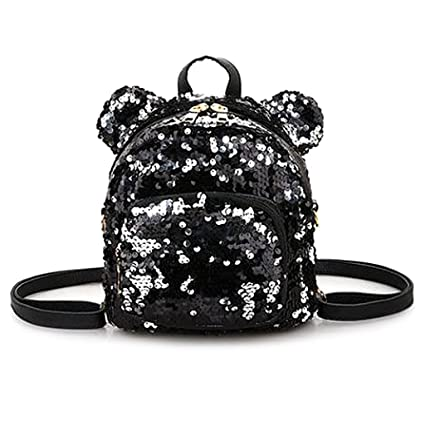 Cicitop Mini Backpack Purse for Women Girl, Leather Backpack Travel Shoulder Bag with Shinning Sequins