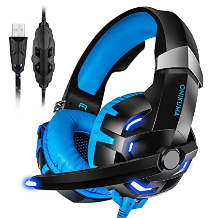 PC Gaming Headset USB, ONIKUMA 7.1 Surround Sound USB Gaming Headphons Crystal Clear Sound with Noise Isolating Mic Deep Bass Volume Control LED Light for PC Mac Computer Gamers Laptop Blue