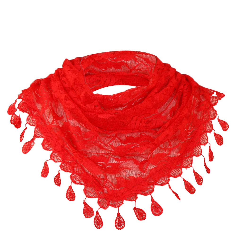 Clearance Sale!❄❄Women Clearance Lace Tassel Rose Floral Hollow Scarf Shawl Lady Wraps Scarves (Red)