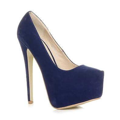 0a70c77dd Ajvani Womens Ladies high Heel Concealed Platform Party Court Shoes Pumps  Size 3 36