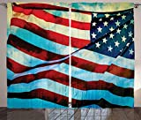 Cheap American Flag Decor Curtains American Flag in the Wind on Flagpole Memorial Patriot History Image Living Room Bedroom Window Drapes 2 Panel Set Blue Red