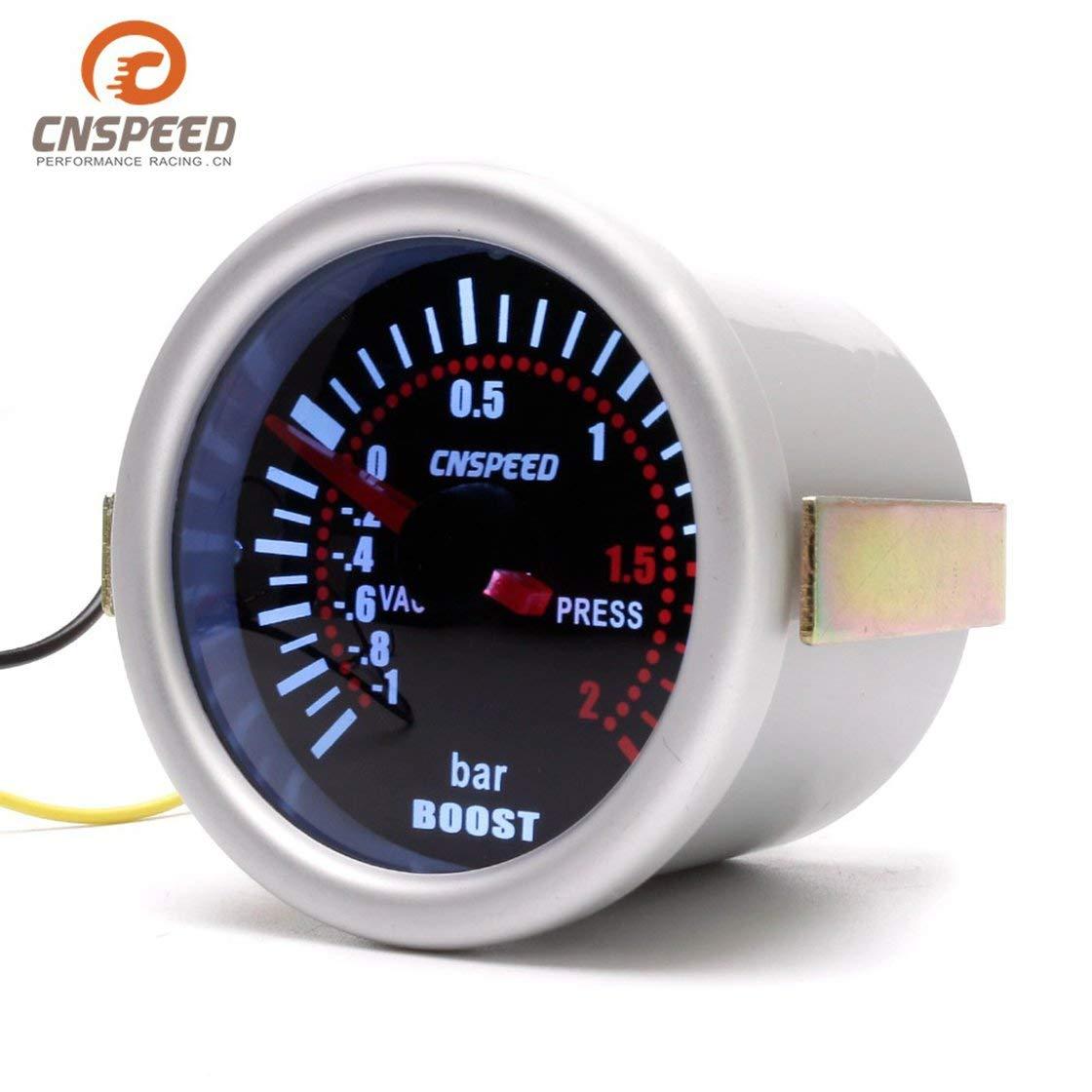 CNSPEED YC101310 Digitale Universale 52mm Car Turbo Boost Vacuum -1~2 BAR Calibro Pressione Manometro Puntatore Contatore di fumo Len LED BlackPJenny
