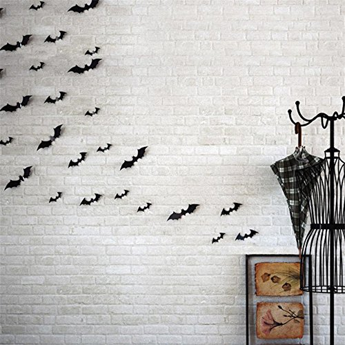 LandFox 12pcs Black 3D DIY PVC Bat Wall Sticker Halloween Home (Bat Halloween Makeup)