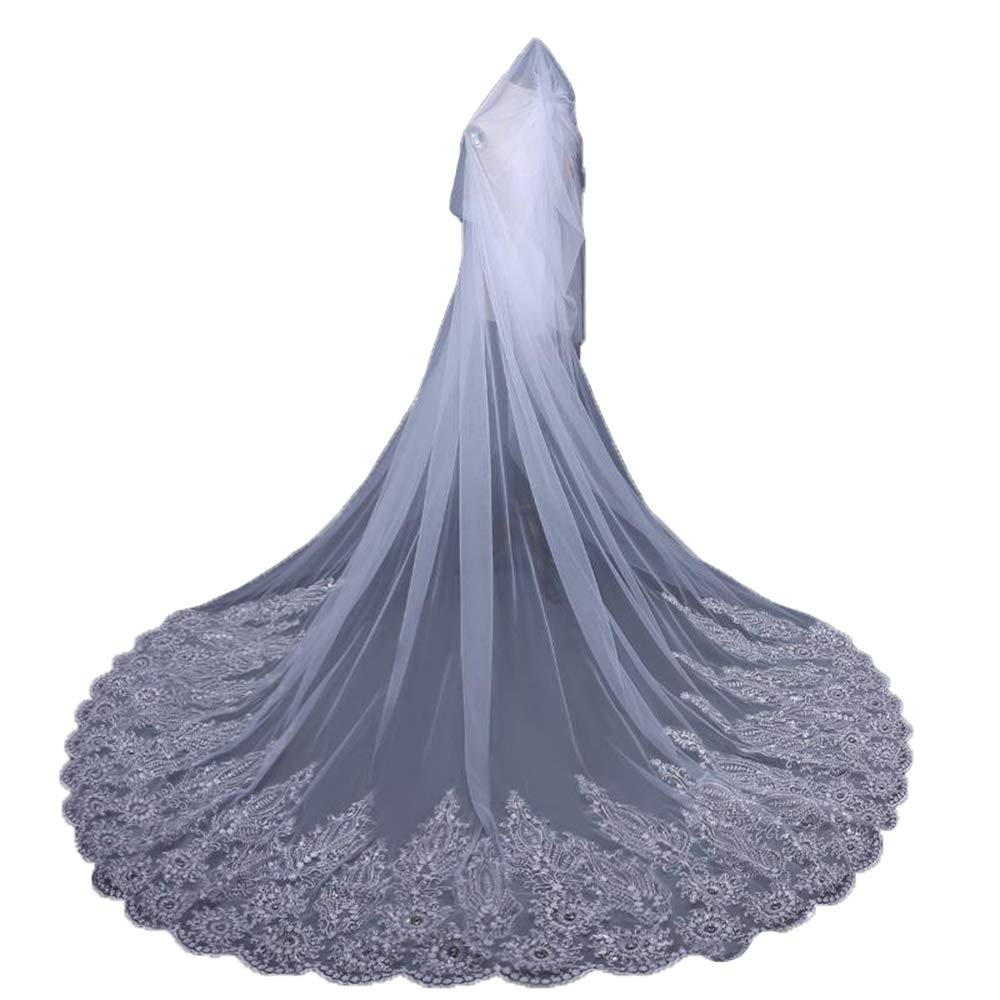 Newdeve Lace Applique Edge Wedding Bridal Veils Cathedral Length 2 Tiers with Comb (5 Meters, White)