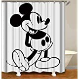 BARTORI Cartoon Decor Shower Curtain Without Pink Point !! Black Mickey Mouse on Pure White Background Classical Waterproof P