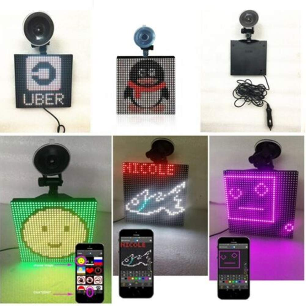 No Remote Control Car Led Display Screen LED car Sign Shop Sign Vehicle LED Display Board Emoji Smiley face LED Display Screen Wireless Bluetooth App Controlled